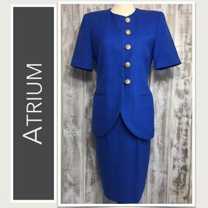 2-Piece Skirt Suit in Royal Blue, Short-Sleeve